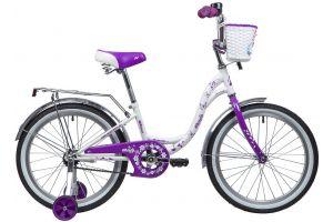 """Велосипед NOVATRACK 20"""" BUTTERFLY, белый-фиолетовый, тормоз ножной, крылья и багажник"""