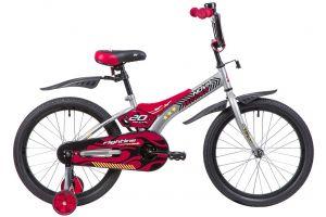 """Велосипед NOVATRACK 20"""" FLIGHTLINE, серый, пластиковые короткие крылья"""