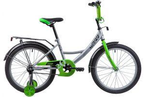"""Велосипед NOVATRACK 20"""", VECTOR, серебристый, защита А-тип, тормоз нож., крылья и багажник чёрн."""