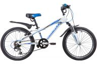 "Подростковый велосипед  NOVATRACK 20"", LUMEN, белый, алюм., 6-скор, TY21/TS38/SG-6SI, V-brake"