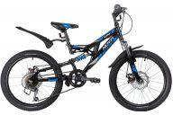 """Подростковый велосипед  NOVATRACK 20"""" SHARK чёрный, сталь, 6-скор, Microshift/Power, диск.тормоз STG"""